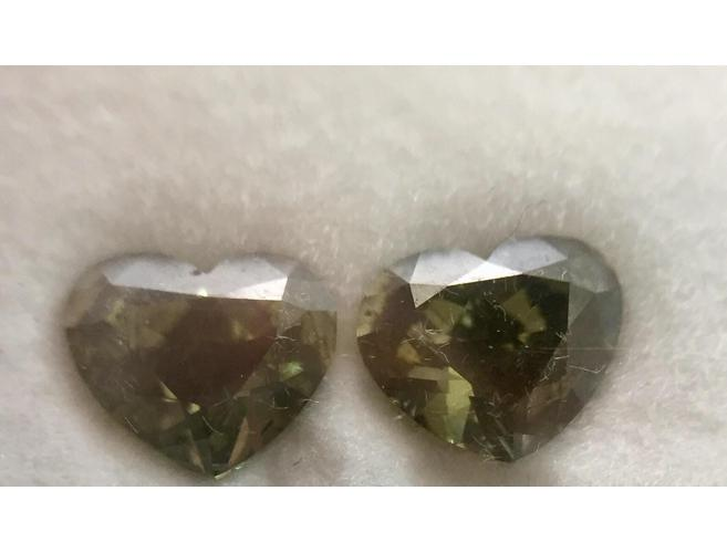 Heart, 2.01cttw. Fancy Dark Gray Yellowish Green, I1. Natural Loose Pair of Diamonds,.