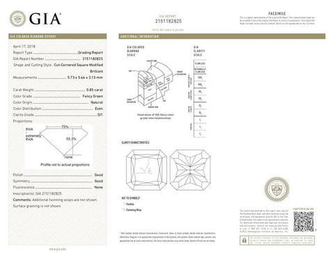Radiant, 0.85 Carat, Fancy Green, SI1. Natural Loose Green Diamond GIA Report. DahanCollection.Com
