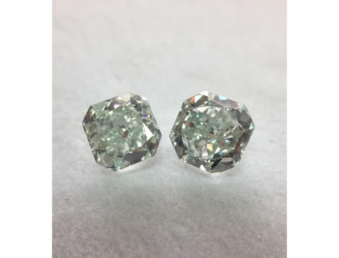 Radiant, 1.87 Total Carat Weight, Fancy Green, SI1. Natural Loose Matching Green Diamonds Pair.