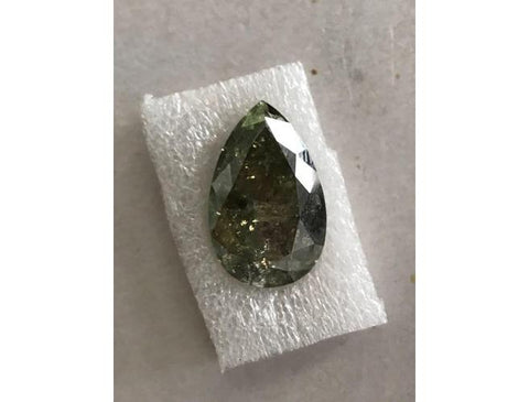Pear, 15.39 Carat, Fancy Dark Gray Yellowish Green. Natural Color Diamond | DahanCollection.Com