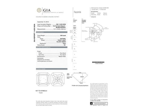 Radiant, 0.84 Carat, Fancy Light Blueish Green, SI1 Clarity. Diamond's GIA Report