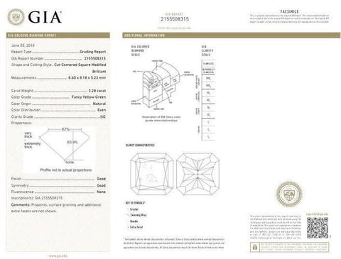 Radiant, 3.28 Carat, Fancy Yellow Green, SI2. Diamond's GIA Report.