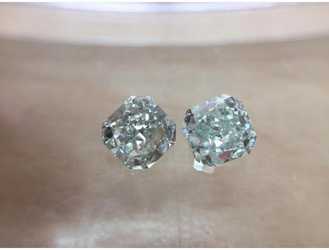 Natural Pair of Fancy Green, SI1 Clarity Diamonds. Color-Diamonds.Net