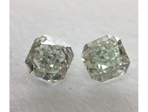 Radiant, 1.62 Total Carat Weight, Fancy Green SI1. Natural Loose Diamonds Pair.