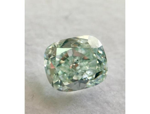 Cushion, 0.85 Carat, Fancy Blueish Green, SI1. Natural Coloured Diamond.
