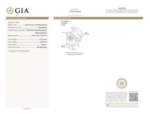 Radiant, 0.27 Carat, Light Pink. GIA Color Diamond Report.