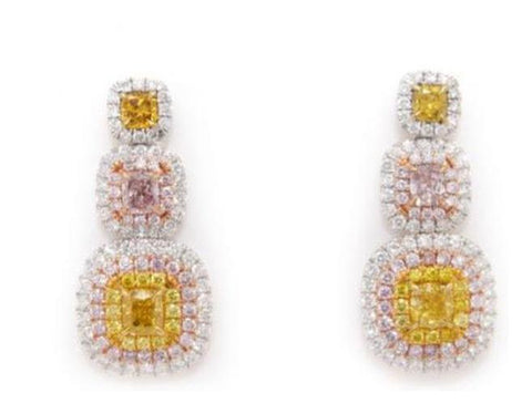 Natura Mixed Fancy Color Diamond Earrings. DahanCollection.Com