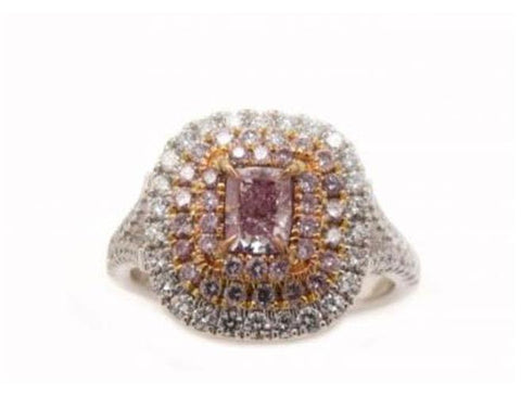 Cushion, 0.51 Carat, Fancy Purple Pink. Natural Pink Diamond Ring