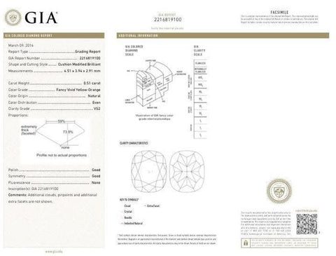Cushion, 0.51 Carat, Fancy Vivid Yellow Orange, VS2. Gia Diamond Certificate.