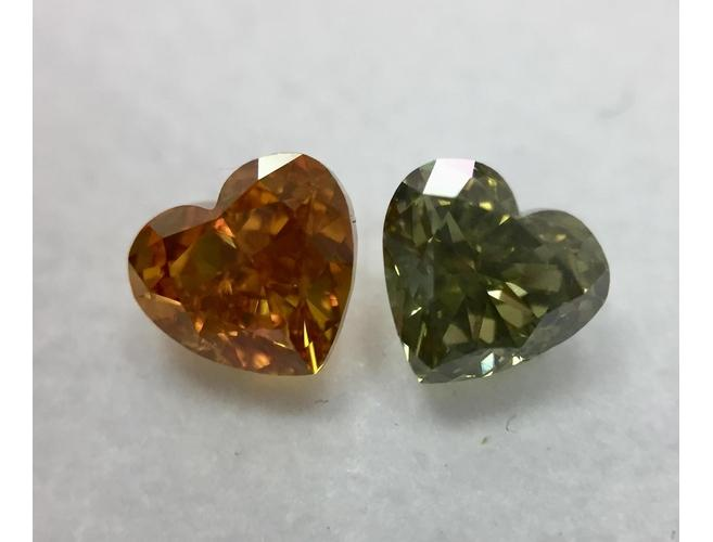 Heart, 1.37 Total Carat Weight, Chameleon Diamond Pair.