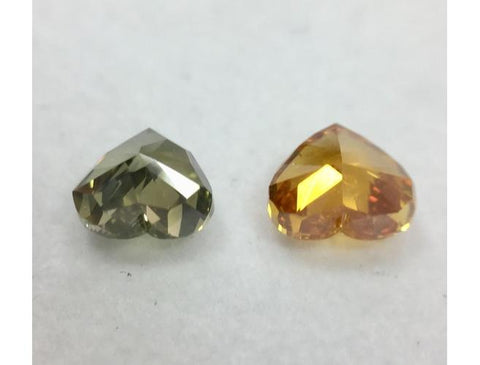 Fancy Deep Grayish Yellowish Green & Fancy Deep Yellowish Orange Diamond Pair.