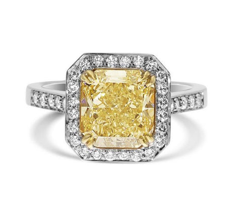 Radiant 4.00 Carat Fancy Yellow VS2 Diamond Ring-ColorDiamondsNet