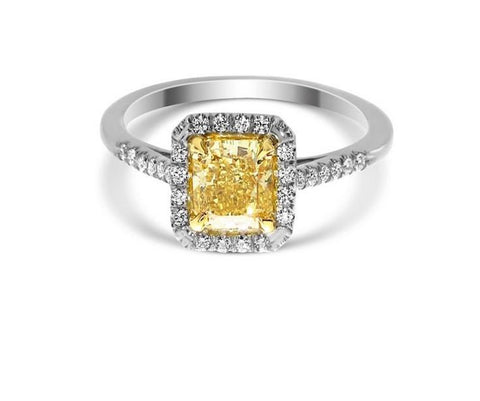 Radiant 1.01 Carat Fancy Vivid Yellow VS1 Diamond Ring-ColorDiamondsNet