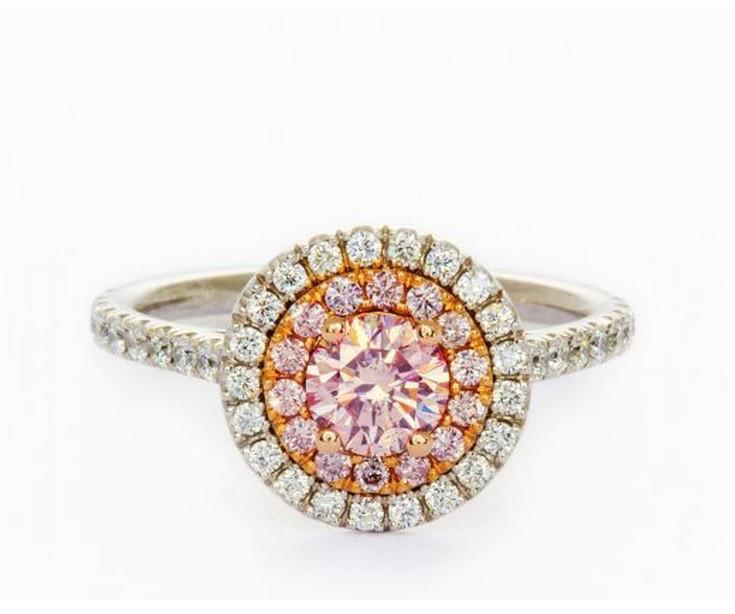 Round 0.39 Carat Fancy Pink Diamond Ring-ColorDiamondsNet