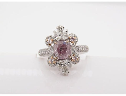 Cushion, 1.59 Carat, Natural Fancy Brownish Purplish Pink Diamond Ring-DahanCollectionLLC