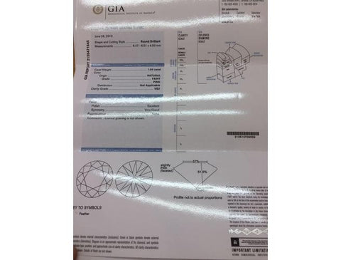 Round, 1.04 Carat, Faint Pink, VS2. GIA Diamond's Grading Report - Color-Diamonds.Net