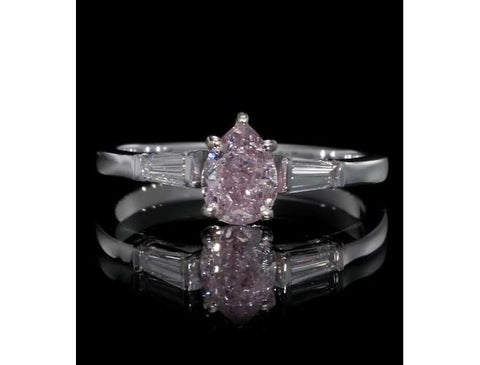 Pear, 1.01 Carat, Fancy Purple-Pink, I2 Diamond Ring