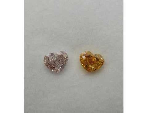 Heart, 1.47cttw. Pair of Natural Color Diamonds - Color-Diamonds.Net