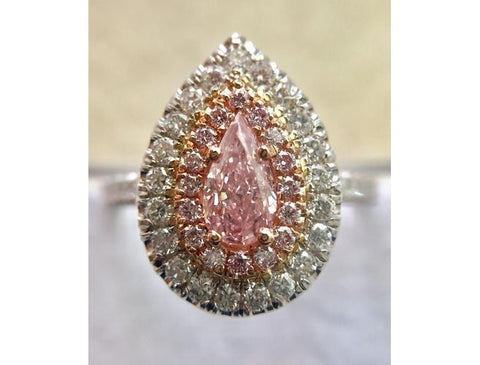 Pear, 0.52 Carat, Natural Fancy Pink Diamond Ring. DahanCollection.Com