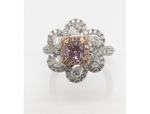 Radant, 0.51 Carat, Fancy Purplish Pink. Diamond Engagement Ring
