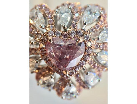 Heart, 0.60 Carat, Fancy Purplish Pink Diamond Ring. DahanCollection.Com