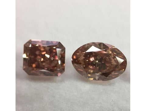 Natural Loose Fancy Deep Brown Pink Diamonds dual