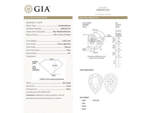 Pear, 0.59 Carat, Fancy Light Pink, Si1. Gia Diamond's Grading Certificate.