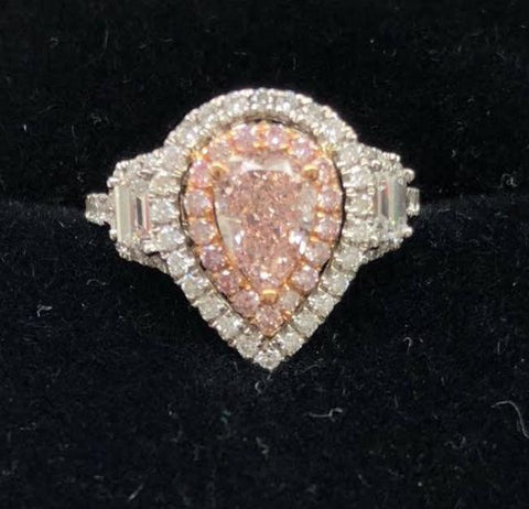 GIA, Pear, 1.03 Carat, Fancy Orangy Pink, VS2. Diamond Ring