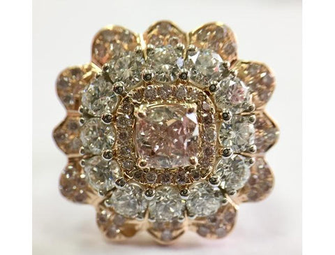 Cushion, 0.72 Carat, Fancy Purplish Pink, I1 Natural Diamond Ring