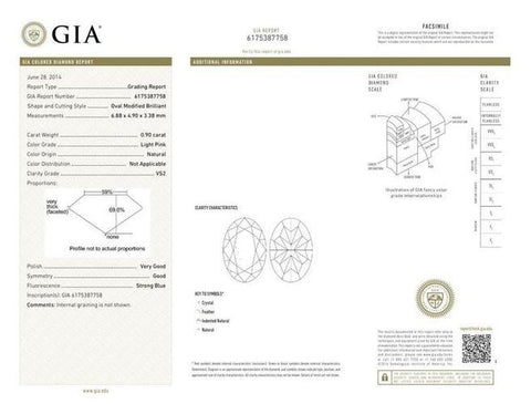 Oval 0.90ct. Light Pink VS2 GIA Certificate-ColorDiamondsNet