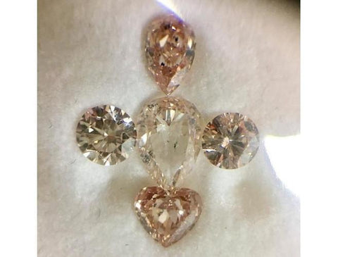 GIA 2.65cttw. Pear, Heart & Round Fancy Orangey Pink (Mix) SI2/I1-ColorDiamondsNet