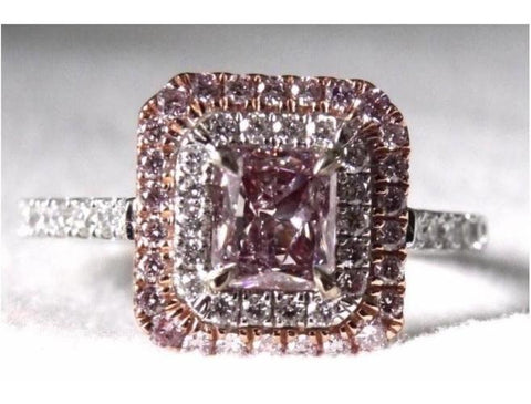 Radiant, 0.68 Carat, Fancy Pink Purple, I1 Natural Diamond Ring-ColorDiamondsNet