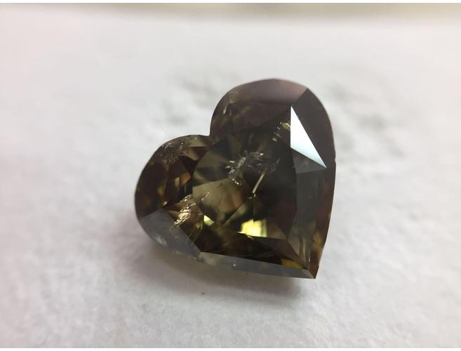 Heart 8.01 Carat Fancy Dark-Gray Greenish Yellow.-ColorDiamondsNet