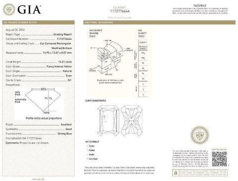 Radiant, 15.01 Carat, Fancy Intense Yellow, SI1. Gia Diamond Certificate.