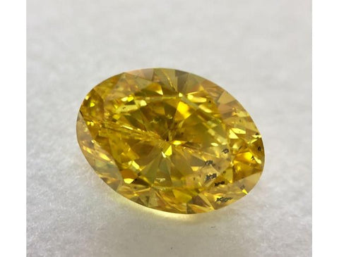 Oval, 2.01 Carat, Fancy Vivid Orangy Yellow, I1 Natural Loose Color Diamond. Color-Diamonds.Net
