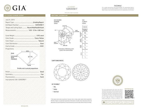 Round, 0.92 Carat, Fancy Yeellow, VVS1. Natural Loose Fancy Color Diamond GIA Certificate.