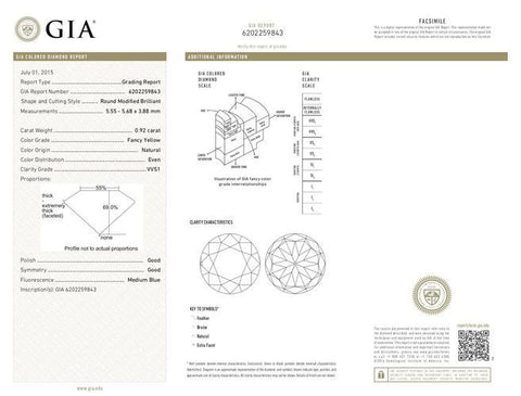 Round, 0.92 Carat, Fancy Yellow, VVS1. Natural Loose Color Diamond GIA Report.