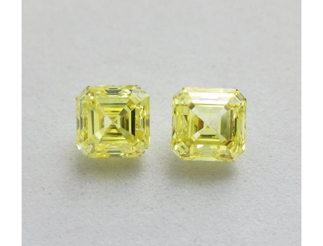 Emerald, 2.00cttw. Fancy Intense Yellow VS1/VS2. Natural Loose Color Diamond Pair.