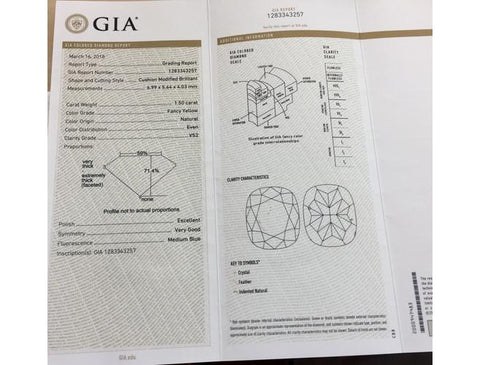 Cushion, 1.50 Carat, Fancy Yellow, VS2. Yellow Diamond GIA Certificate.