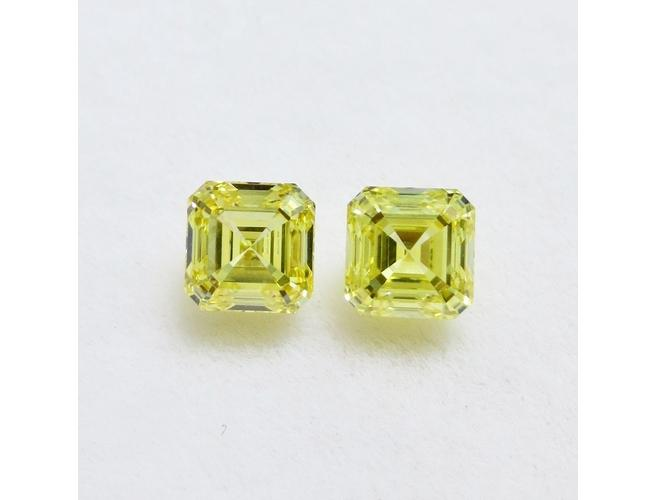 Emerald, 2.05 Total Carat Weight, Fancy Intense Yellow, VVS1 / VS1 Pair of Diamonds