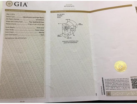 Pear 10.06 Carat, Fancy Yellow. GIA Diamond Grading Report.