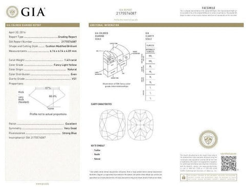 Cushion, 1.43 Carat, Fancy Light Yellow, VS1. GIA Diamond Report