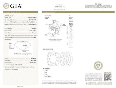 Cushion, 1.50 Carat, Fancy Yellow, VS1 Clarity. GIA Diamond's Certificate.