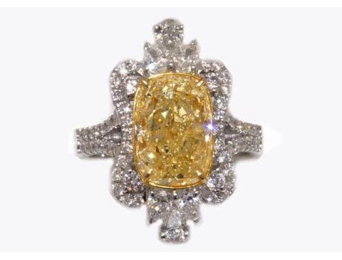 Cushion, 3.65 Carat, Fancy Yellow, I1. Natural Yellow Diamond Ring