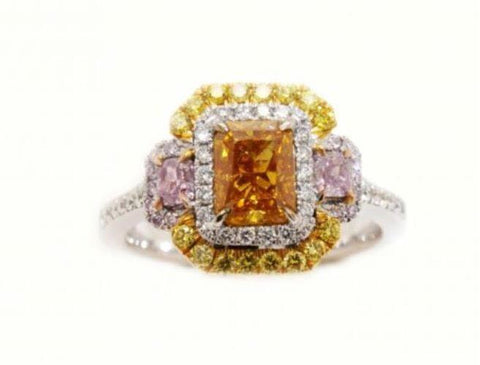 Radiant,1.01 Carat, Fancy Deep Orange Yellow, I1 Diamond Ring