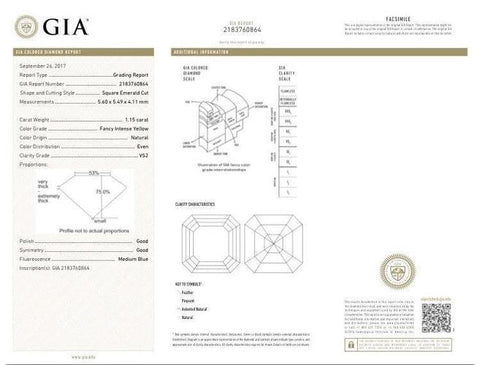 Asscher, 1.15 Carat, Fancy Intense Yellow, VS2. GIA Diamond Grading Report.