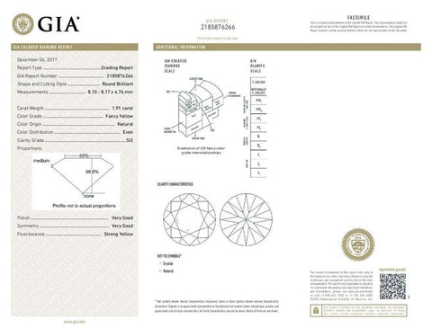 Round, 1.91 Carat, Fancy Yellow, SI2. GIA Color Diamond Grading Report.