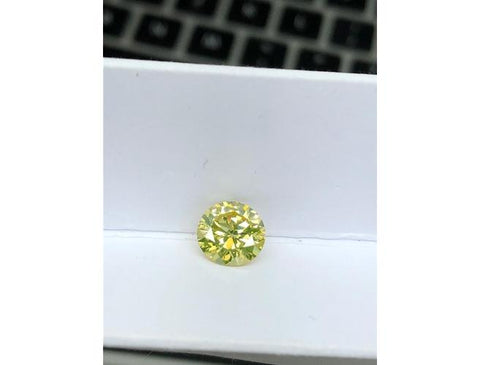 Round, 1.91 Carat, Fancy Yellow, SI2. Natural Loose Colored Diamond.