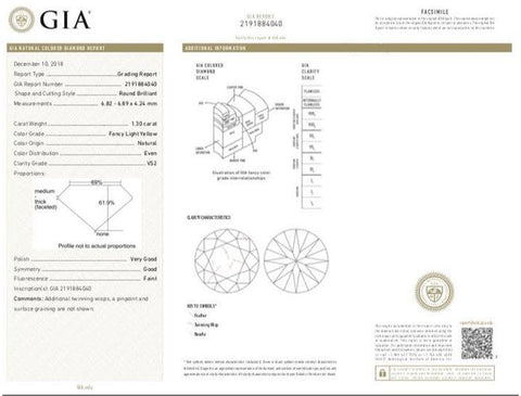 Round, 1.30 Carat, Fancy Light Yellow, VS2. GIA Diamond's Grading Report