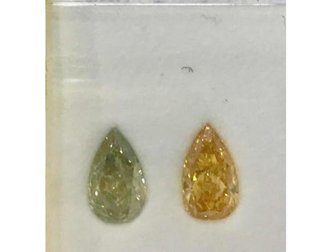 Pear, 2.10 Total Carat Weight, Fancy Vivid Yellow Orange & Fancy Deep Green Yellow Pair